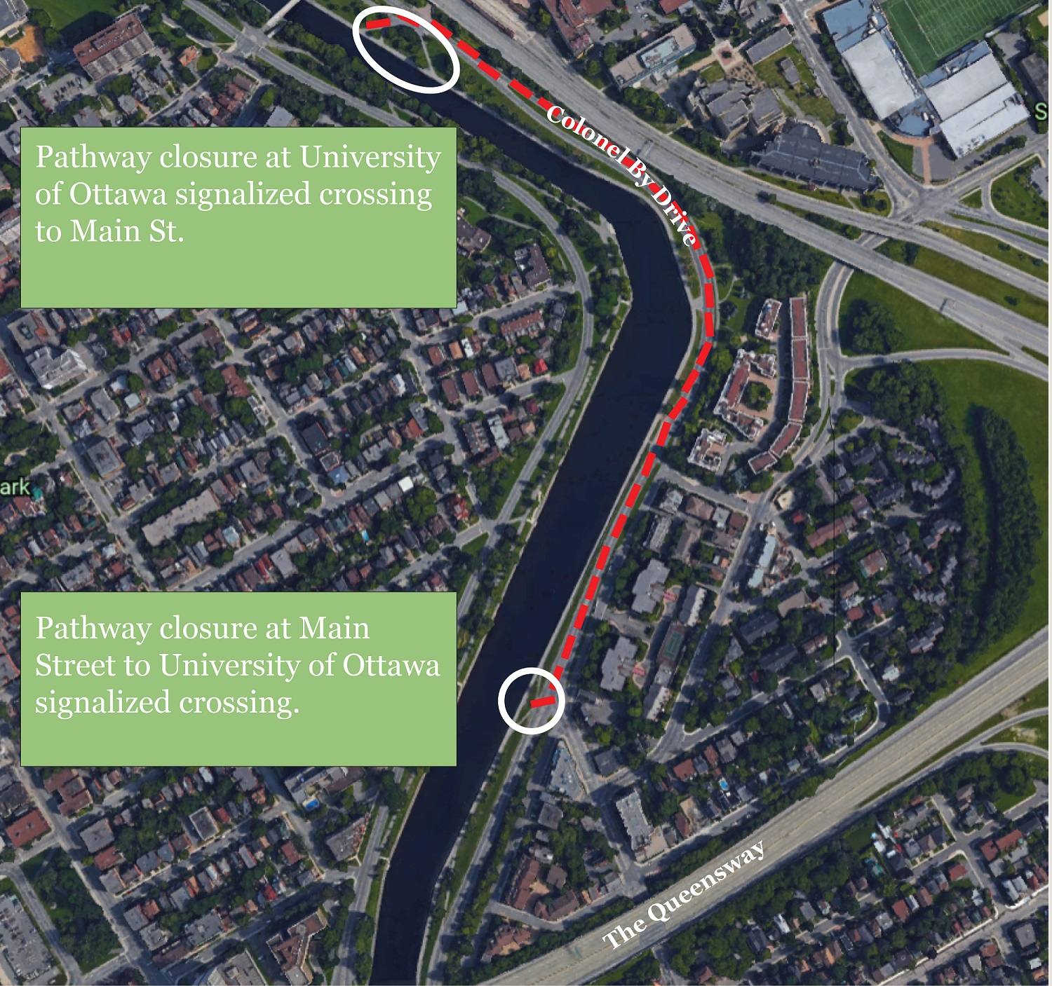 Map of pathway detours along Rideau Canal pathway between Concord Street North and Main Street